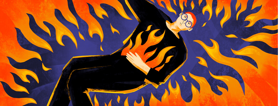 Person experiencing Crohn's flare up with fire surrounding him