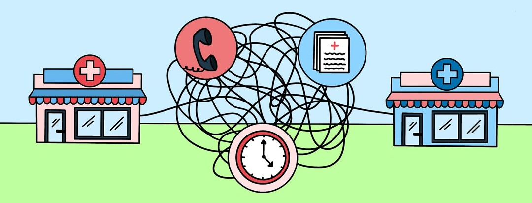 2 pharmacies ties with a tangled rope, showing a phone, paperwork, and a clock.