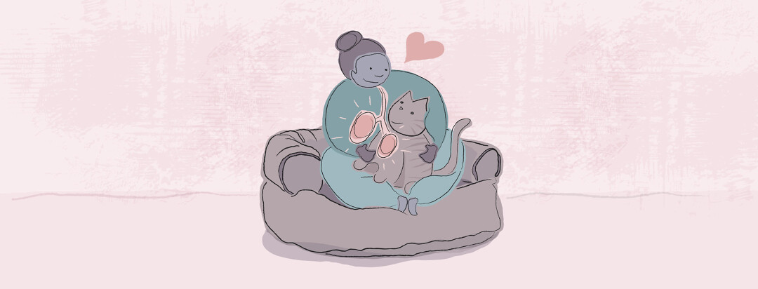 Woman sitting on a couch with her lungs highlighted lovingly holds her cat in her lap