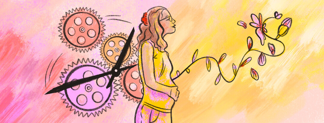Pregnant woman in second trimester looks ahead at flower blooming from her belly and clock hands behind her